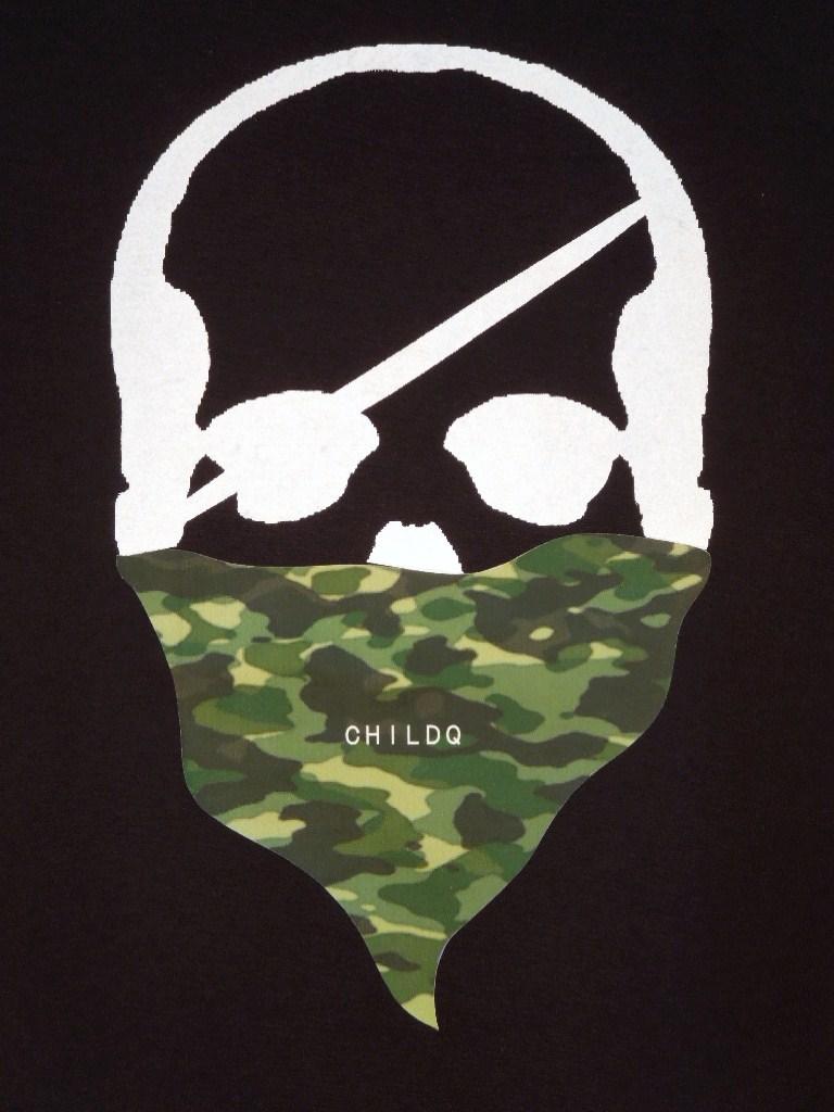 Skull Green camouflage bandana Black