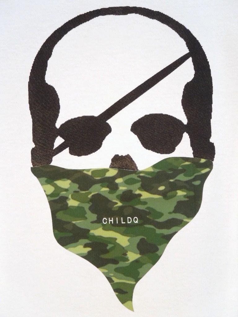 Skull Green camouflage bandana White