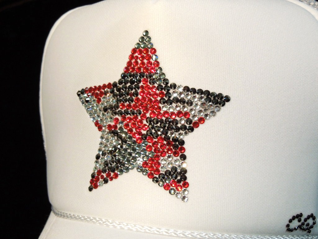 Star Camouflage Swarovski Cap White×Red