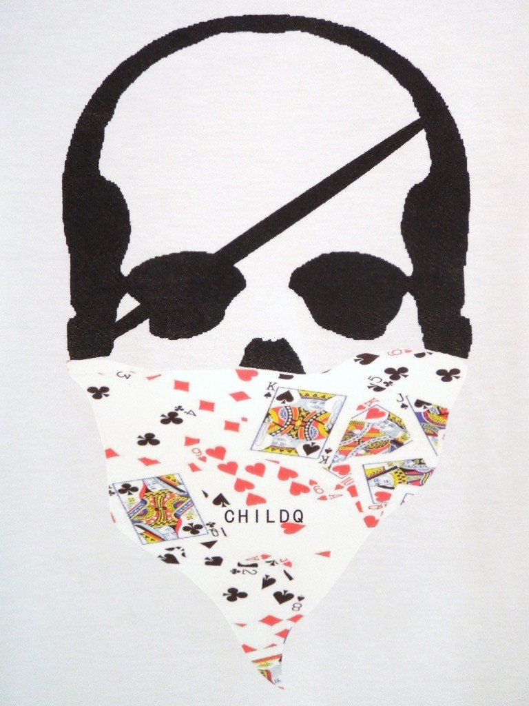 Skull bandana Trump Pattern Long T-shirt White