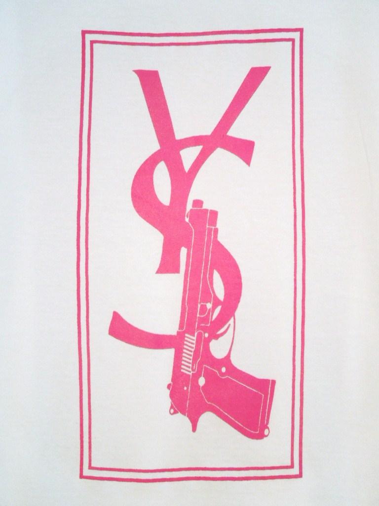 Parody Hand Gun T-shirt White×Pink