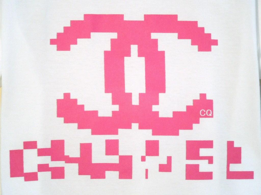 Mosaic parody T-shirt white×Pink