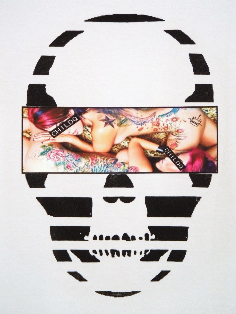 Skull Tattoo Girl NO.11 T-shirt White