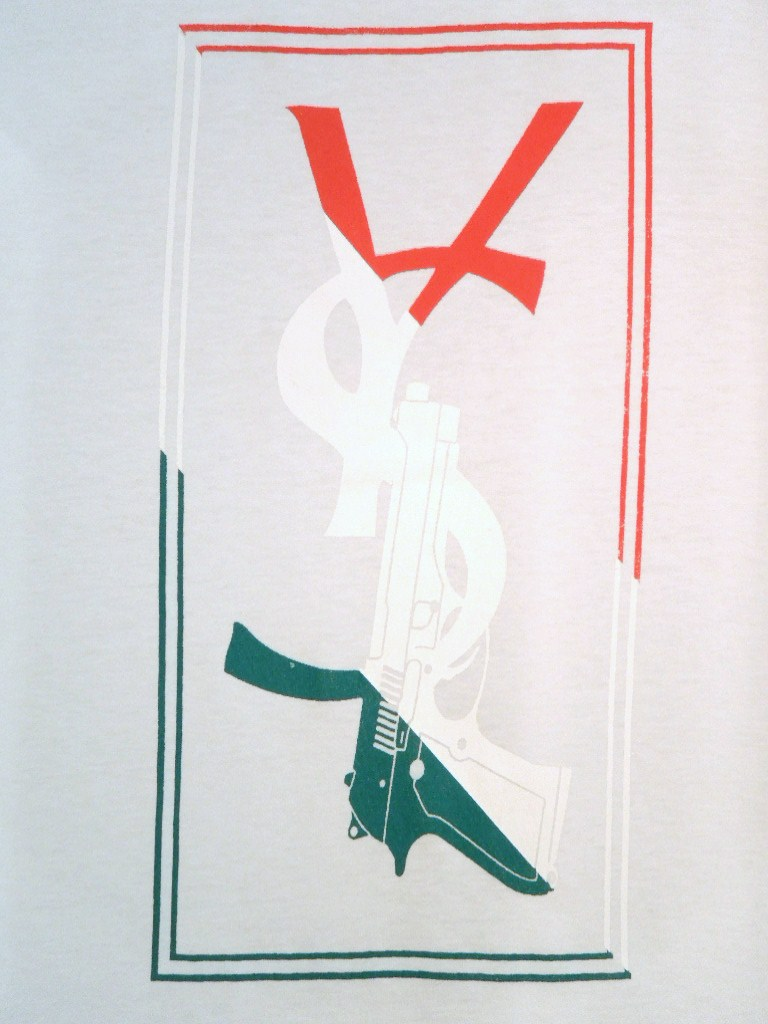 Parody Hand Gun T-shirt White×Italy color