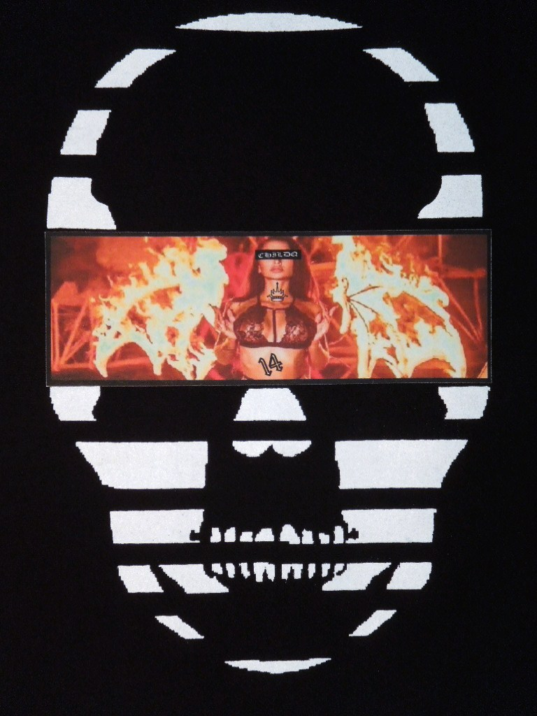 Skull Tattoo Girl NO.14 T-shirt Black