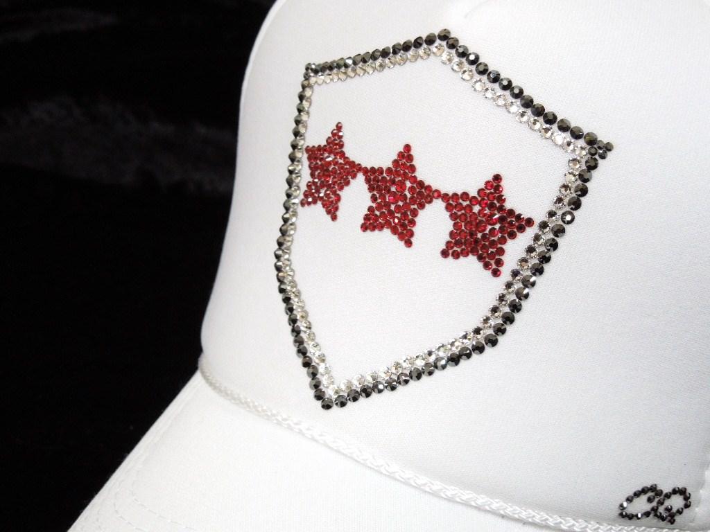 Emblem Red Three Star Swarovski cap White