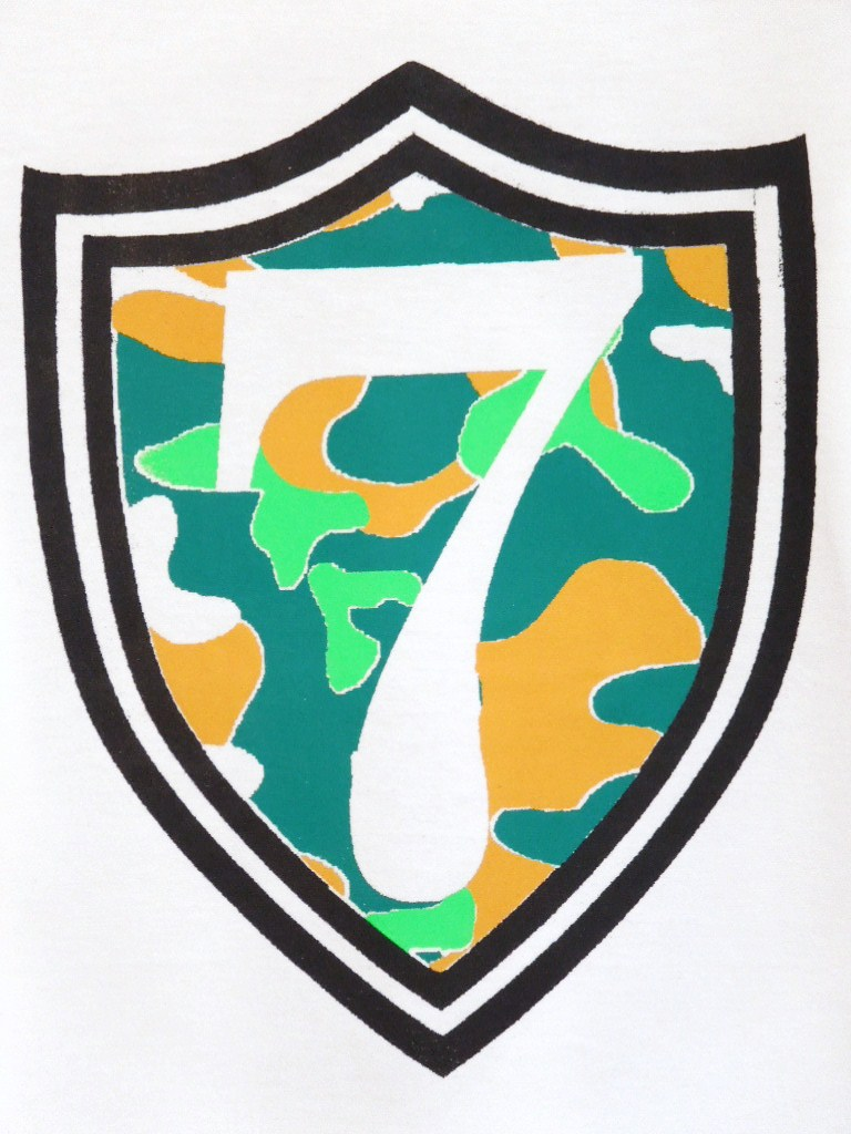 Emblem Seven Camouflage Long T Shirt White