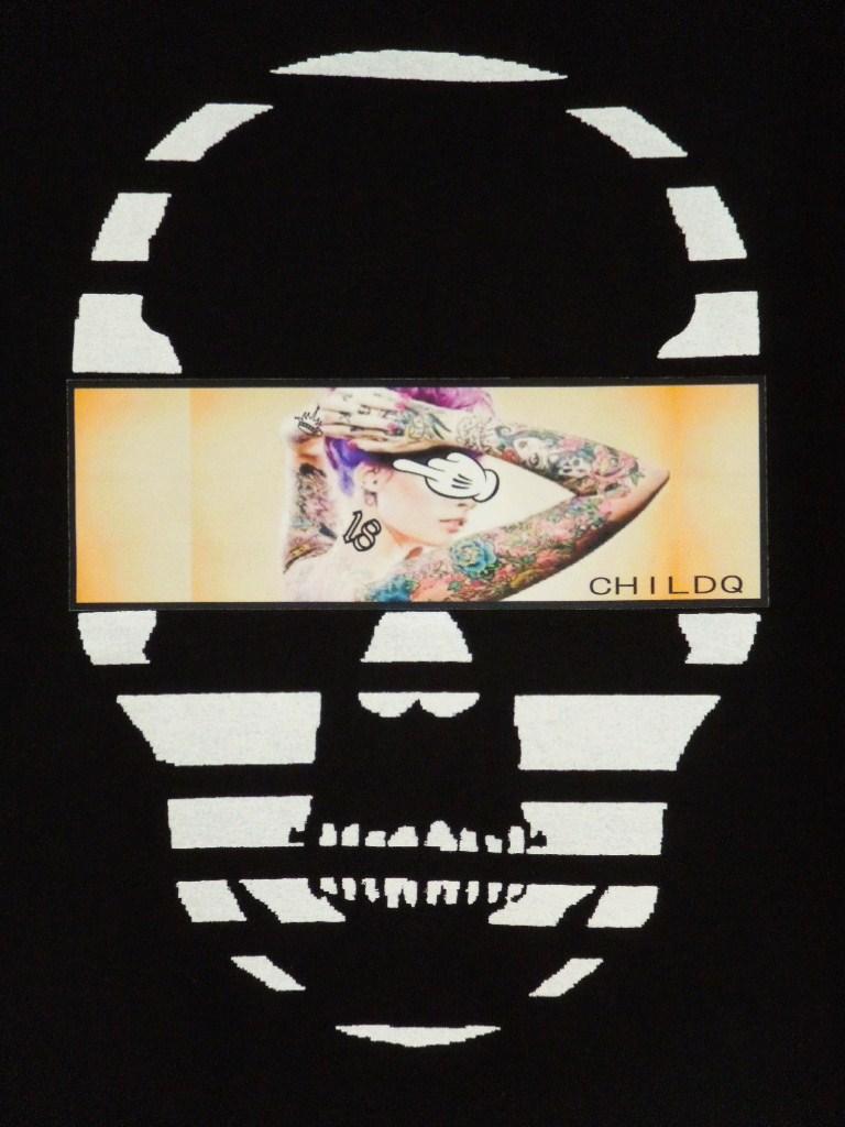 Skull Tattoo Girl NO.18 T-shirt Black