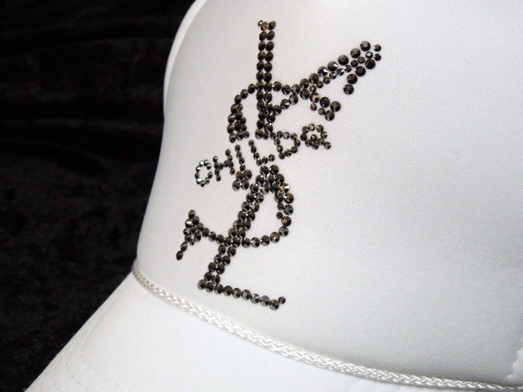 Parody crash melt full custom Swarovski cap / white