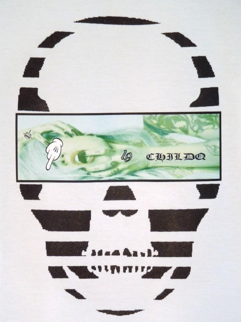 Skull Tattoo Girl NO.19 T-shirt White