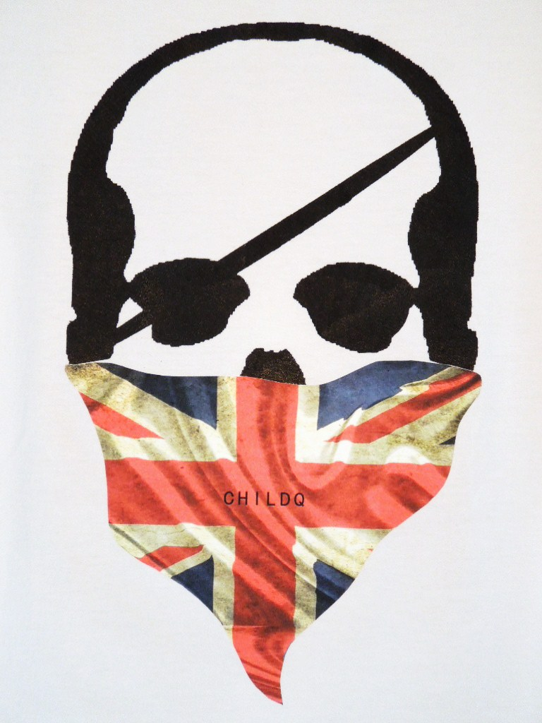 Skull bandana British flag Long T-shirt White