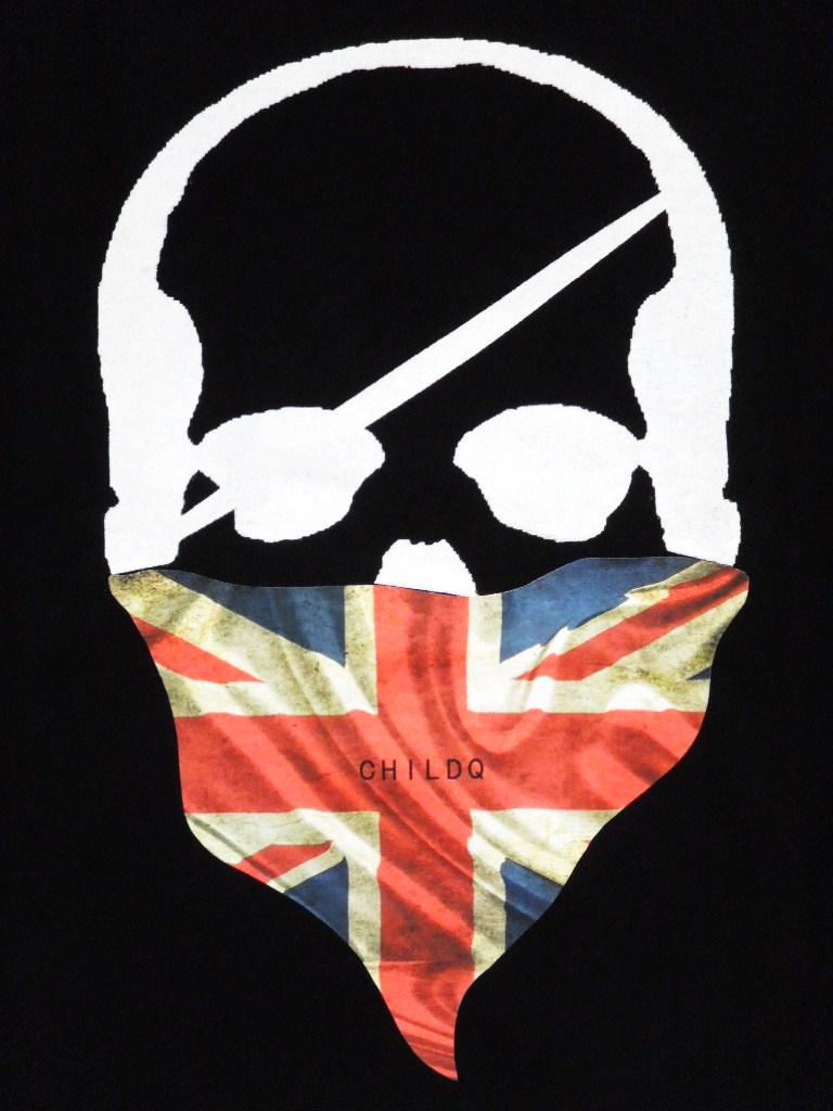 Skull bandana British flag Long T-shirt Black