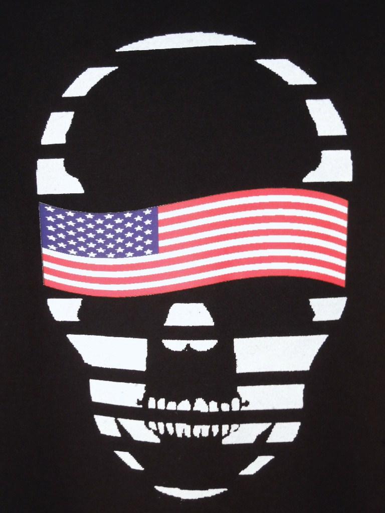 スカル USフラッグ Tシャツ / Black