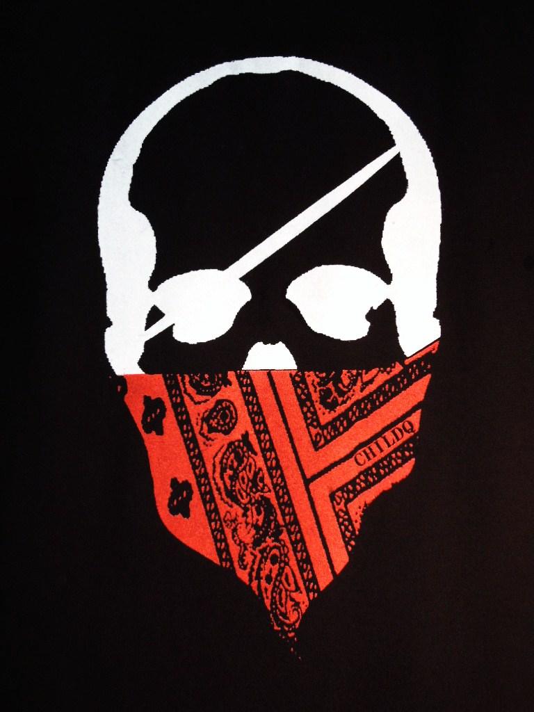スカル バンダナ Tシャツ / Black×Red