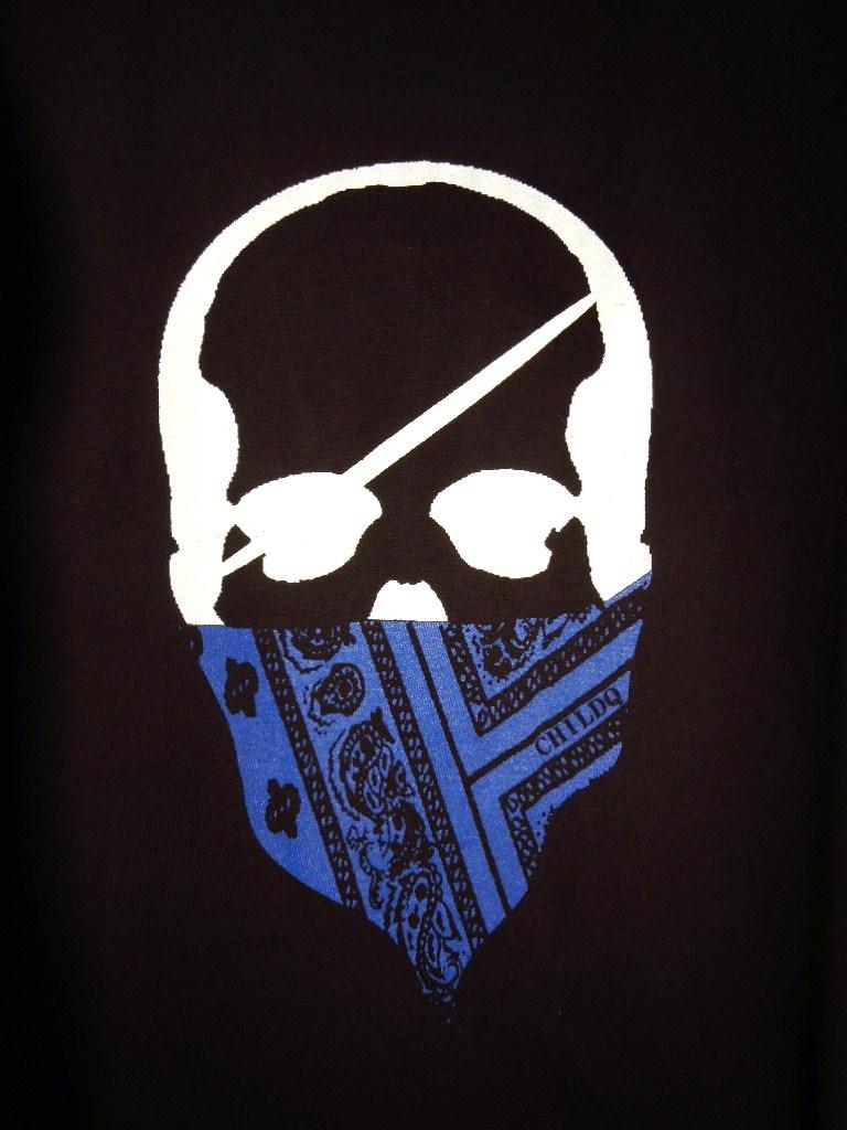 スカル バンダナ Tシャツ / Black×Blue