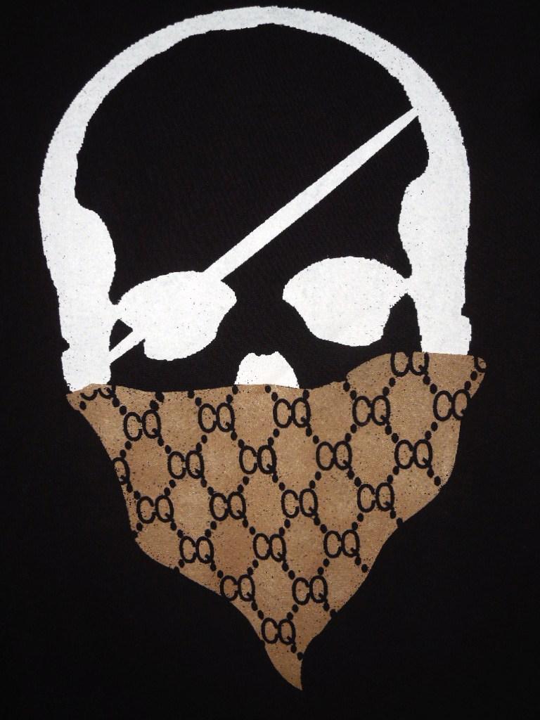 スカル バンダナ モノグラム ロングTシャツ / Black×Brown