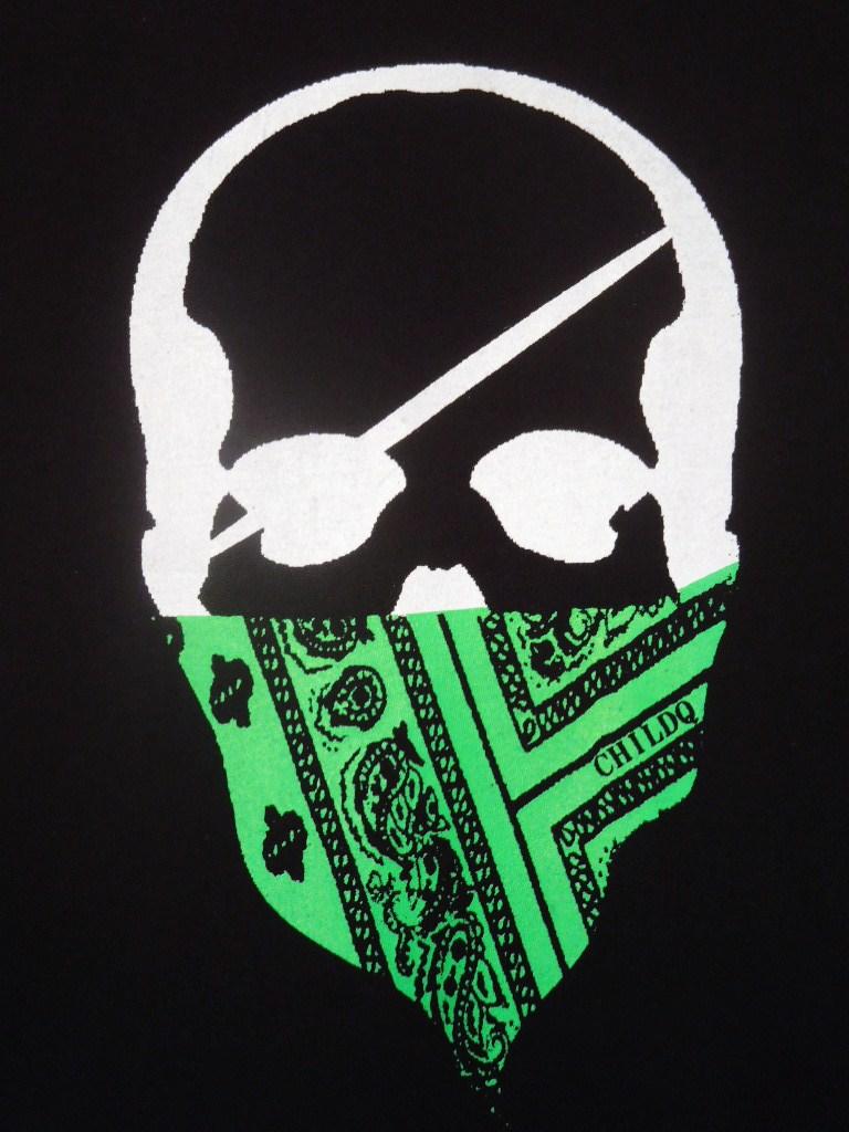 スカル バンダナ ロングTシャツ / Black×Green