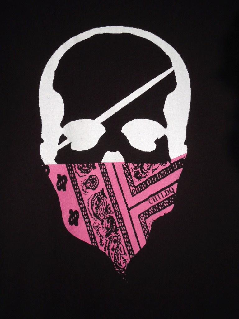 スカル バンダナ ロングTシャツ / Black×Pink