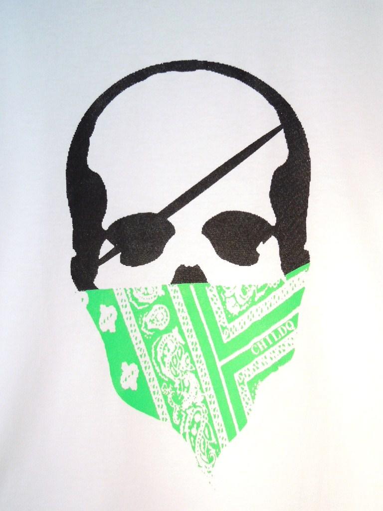 スカル バンダナ ロングTシャツ / White×Green