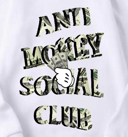Anti money club hoodie white