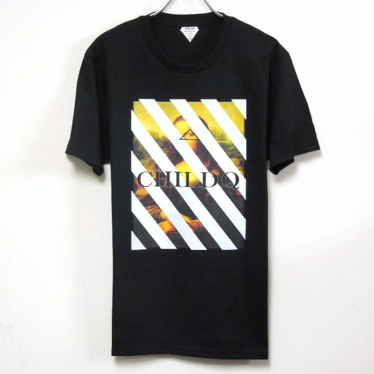 Mona Lisa White Line T-shirt Black