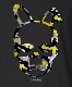 Skull Bunny Camouflage T-shirt Black×Yellow