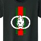 Green Red Line Hand T-shirt Black