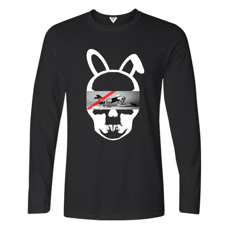 Skull Bunny Tattoo Girl NO.32 Long T-shirt Black