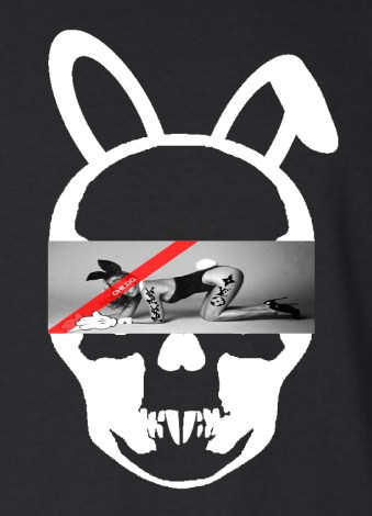 Skull Bunny Tattoo Girl NO.32 Long T-shirt Black