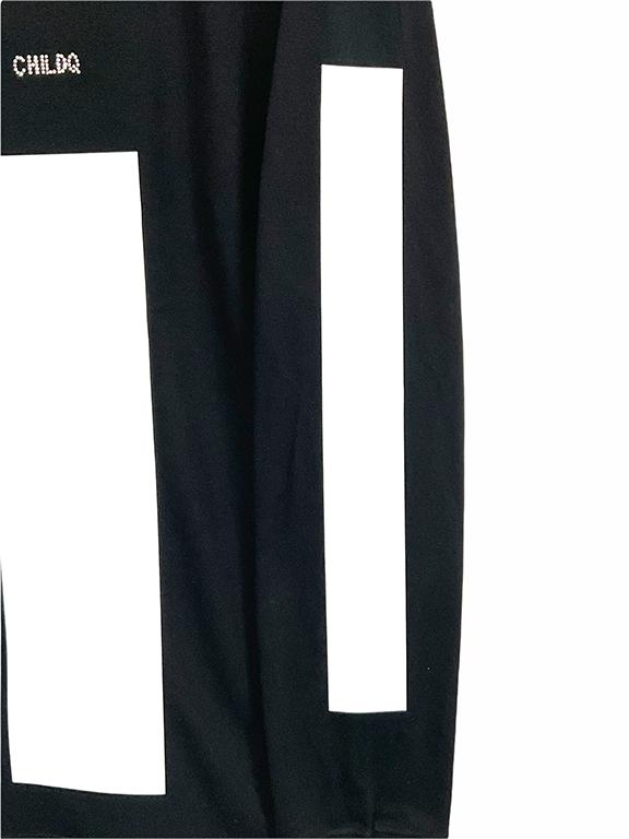 White Line Swarovski Long T-shirt Black