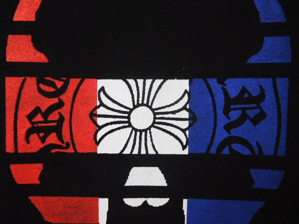 スカル クロス トリコロールカラー ロングTシャツ Black