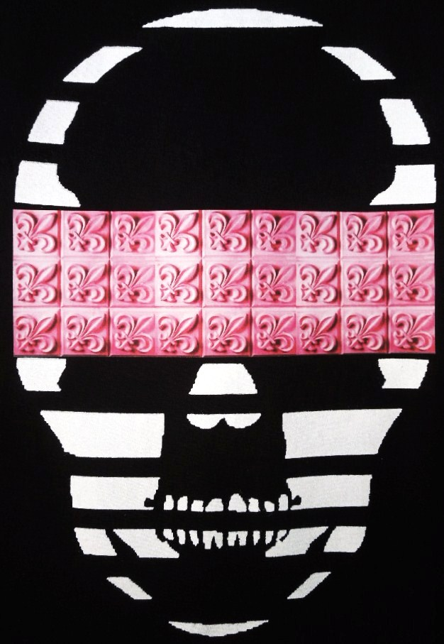 Skull crest monogram Black×Pink
