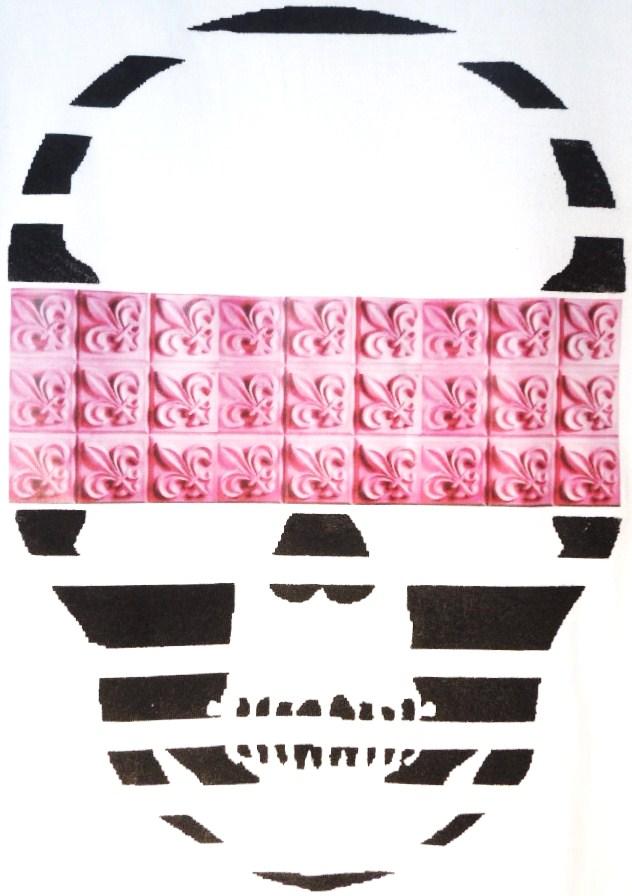 Skull crest monogram White×Pink