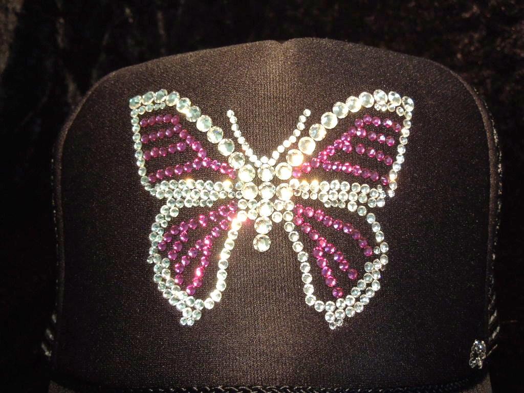 Butterfly Swarovski cap black