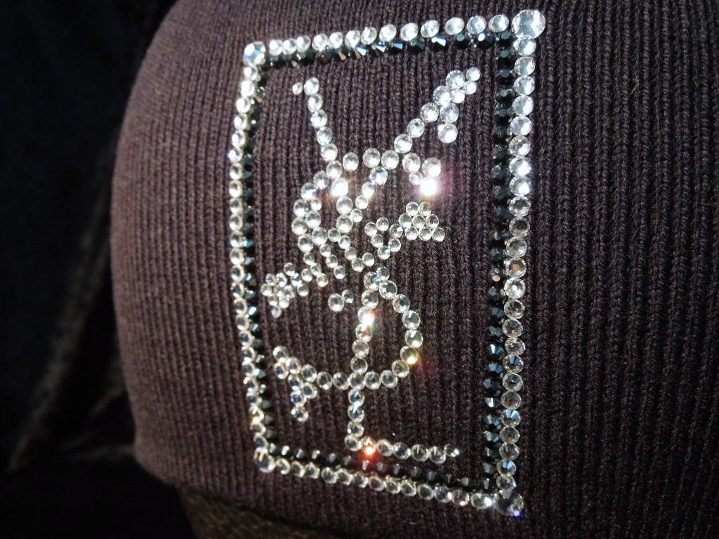 Square parody crash Swarovski knit cap black