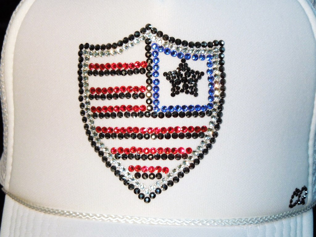 Emblem US Swarovski cap US Color White