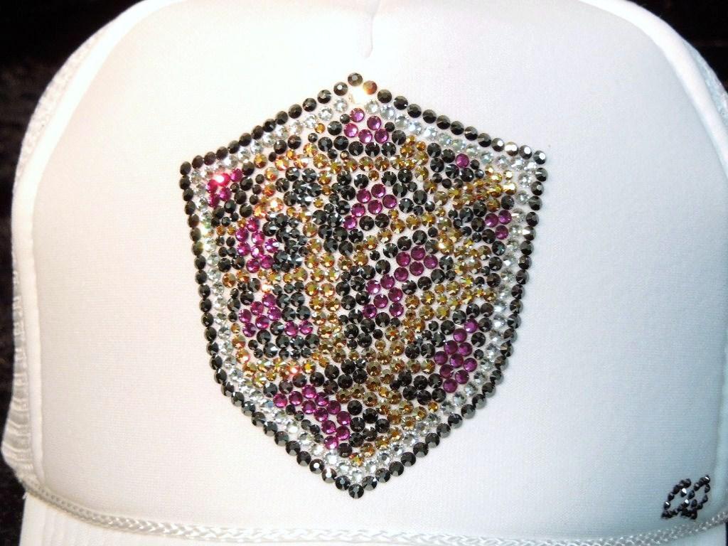 Leopard emblem Swarovski cap White