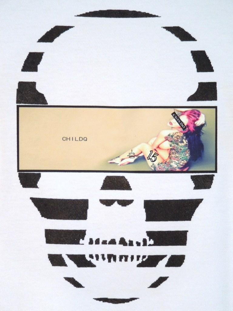 Skull Tattoo Girl NO.15 T-shirt White