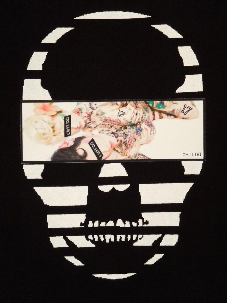 Skull Tattoo Girl NO.17 T-shirt Black