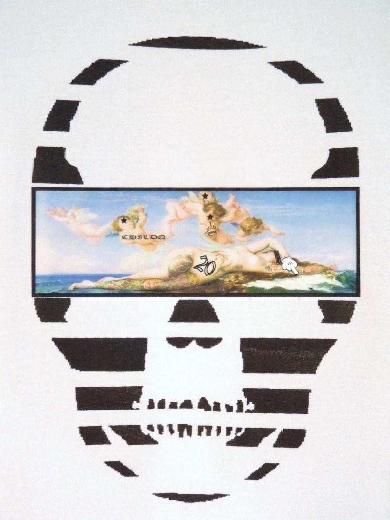 Skull Tattoo Girl NO.20 T-shirt White