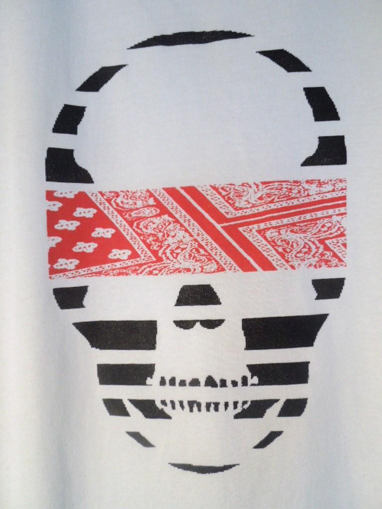 スカル ペイズリー柄 Tシャツ / White×Red