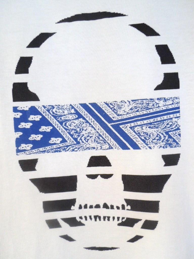 スカル ペイズリー柄 Tシャツ / White×Blue