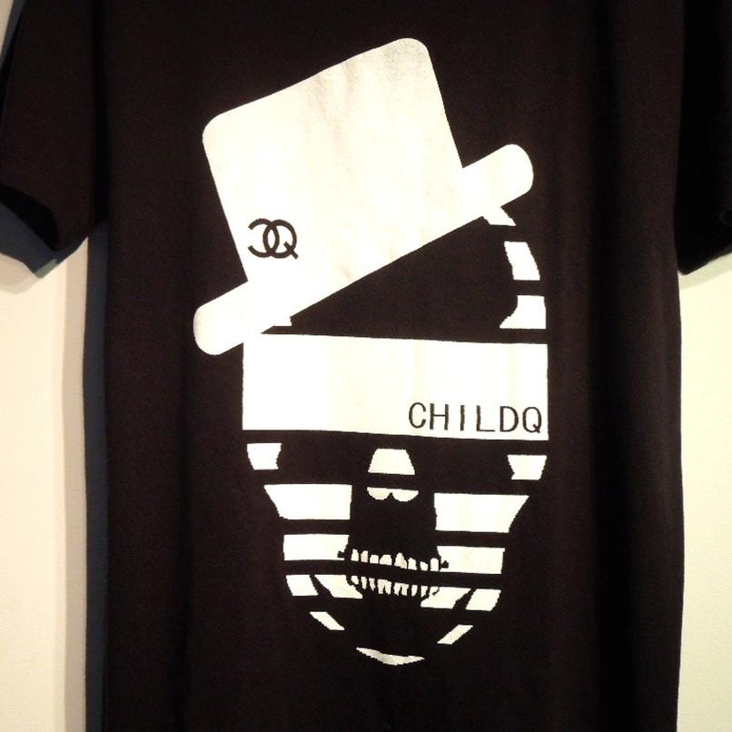 ハットCQスカル Tシャツ / Black×White
