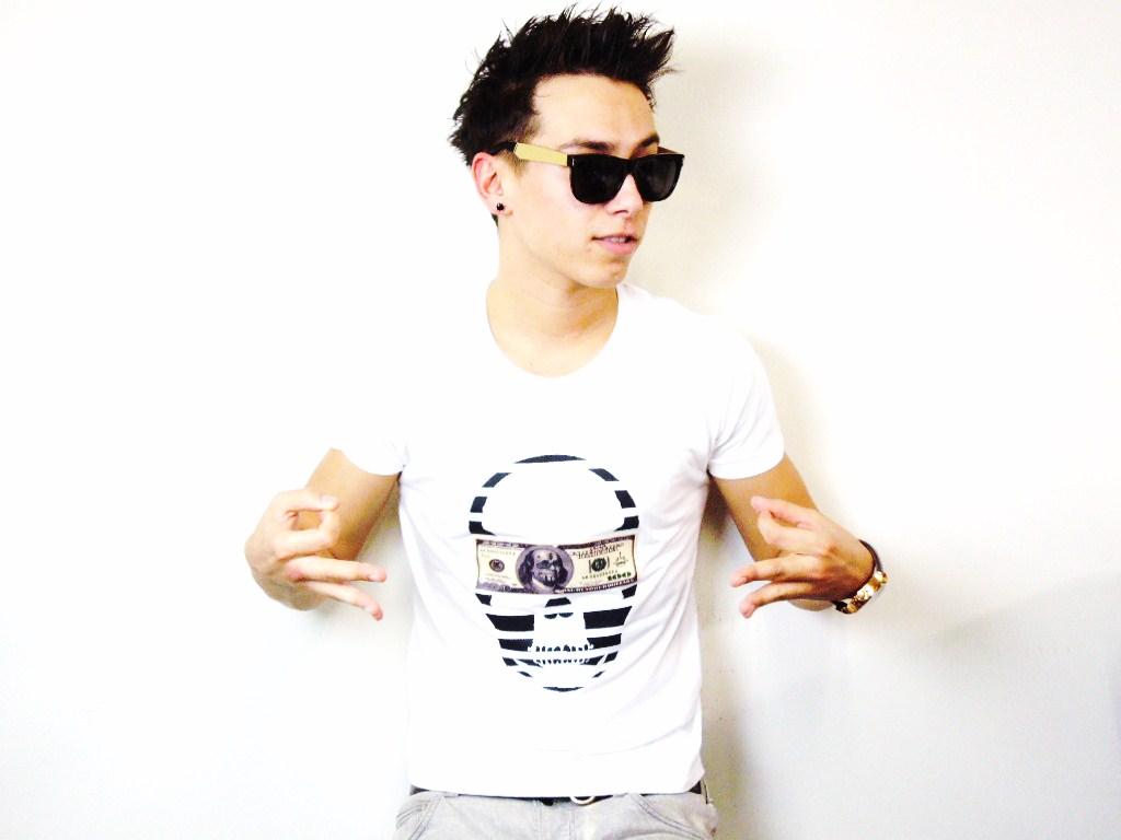 スカル マネー Tシャツ / White