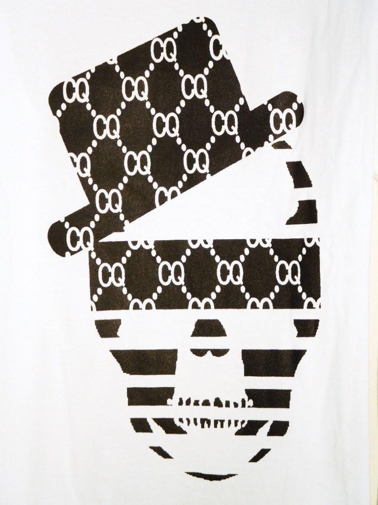 スカルハット CQ柄 ロングTシャツ / White
