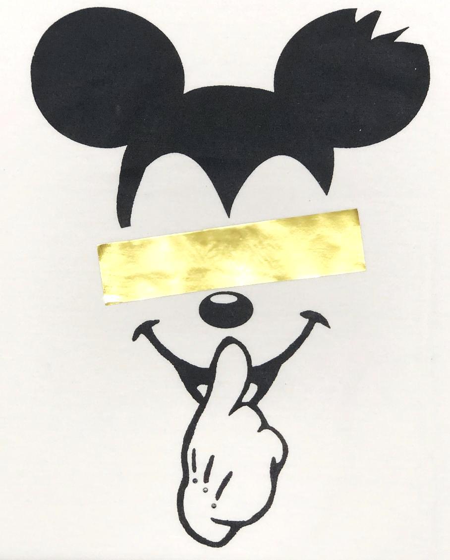 Secret Mouse Gold Line Long T-shirt White