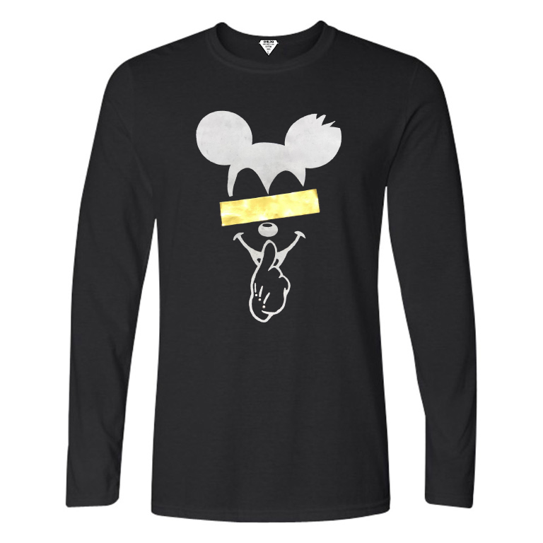 Secret Mouse Gold Line Long T-shirt Black