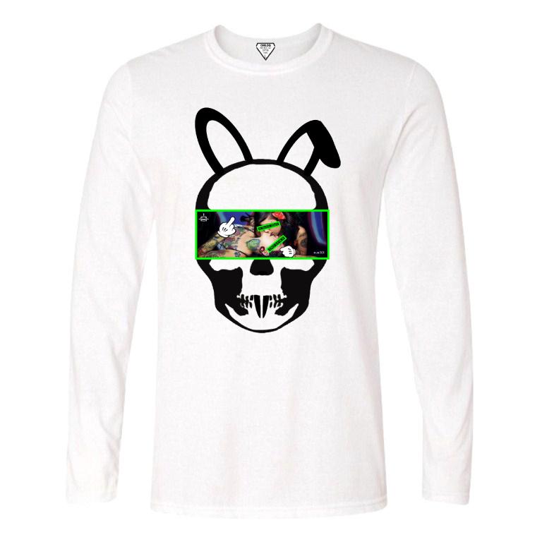 Skull Bunny Tattoo Girl NO.33 Long T-shirt White