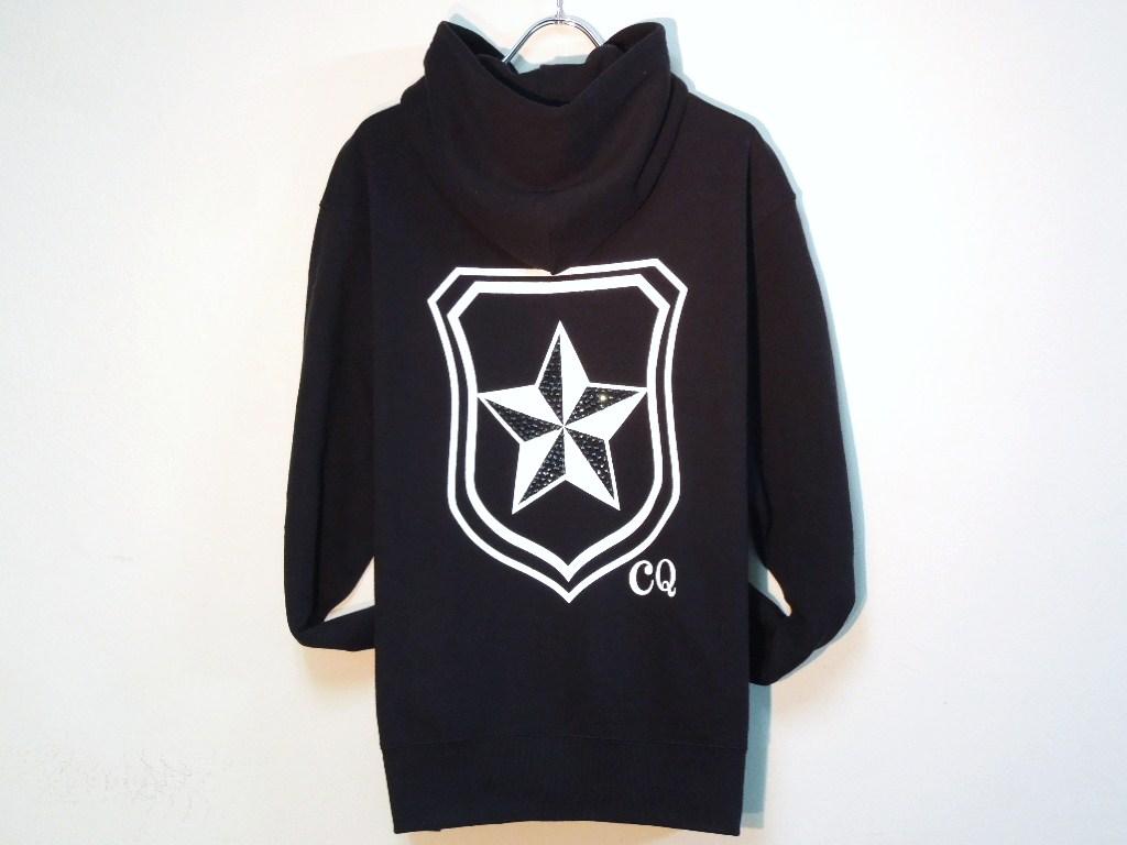 Rock star emblem Swarovski Zip Up Parka black