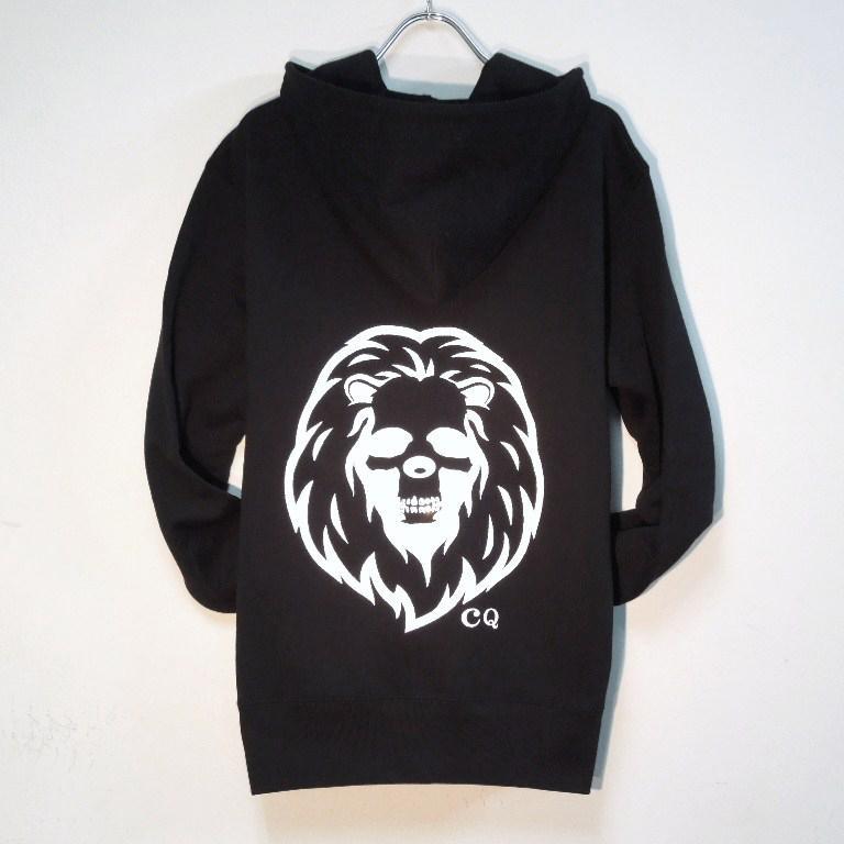 Skull Lion Swarovski zip-up Parka black
